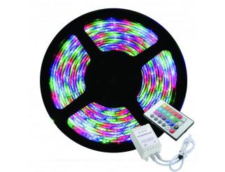 STRISCIA A LED 3528 RGB 5M SMD 300LED 5 METRI BOBINA LUCE MULTICOLOR COLORI 12V