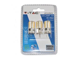 LAMPADINA 3 pezzi lampadine LED V-Tac G4 3W 3000K 200lm
