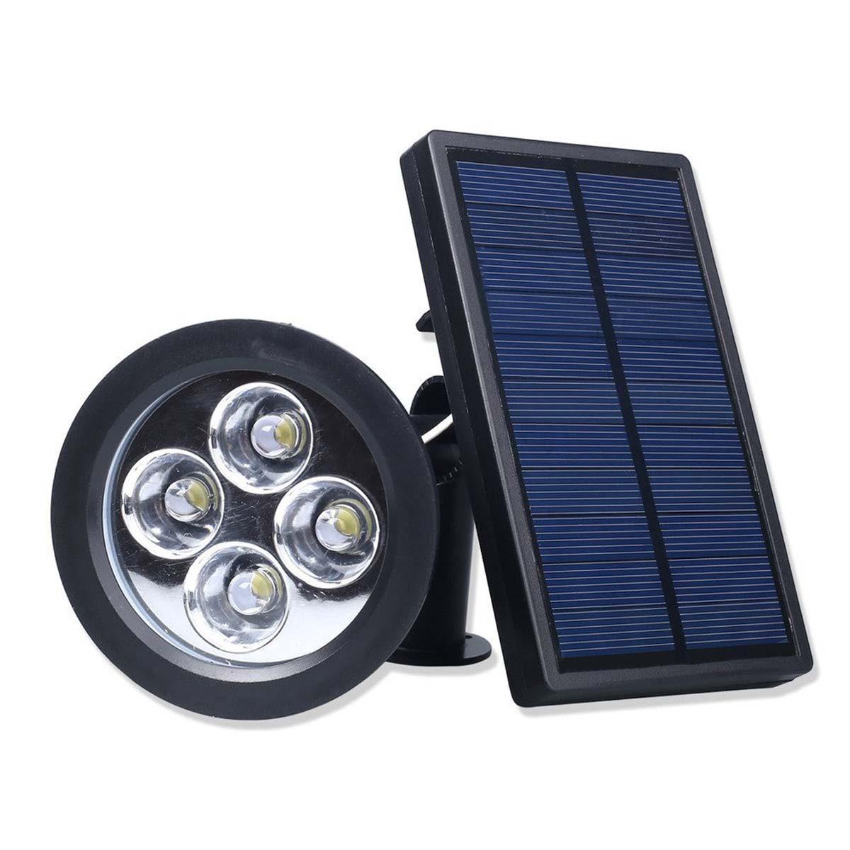 Luce Per Esterno Con Pannello Solare.2 Lampada Solare Faretto Faro Da Esterno Giardino 4 Led Ip65