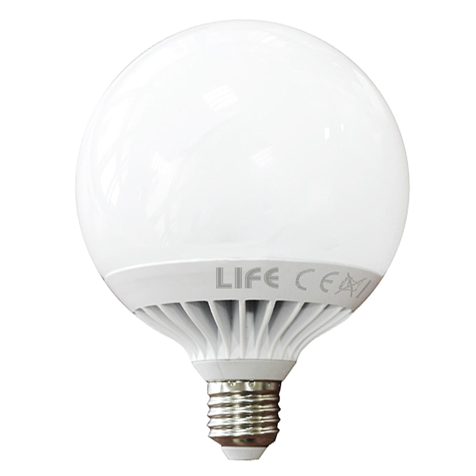 3 PZ LAMPADE LAMPADA LAMPADINA A LED LUCE FREDDA A GLOBO ATTACCO E27 15 W LIFE Vultech Life AMC     -> Lampadine Globo Led Trasparente