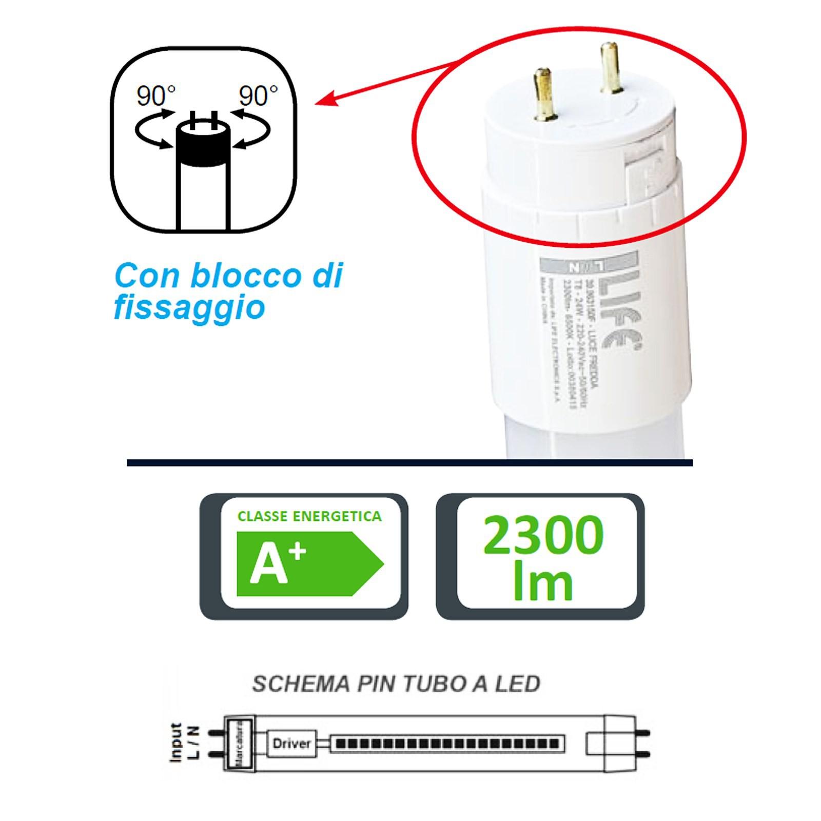 Schema Elettrico Lampada : Tubo neon led t8 150cm luce bianca fredda rotativo life lampada 24