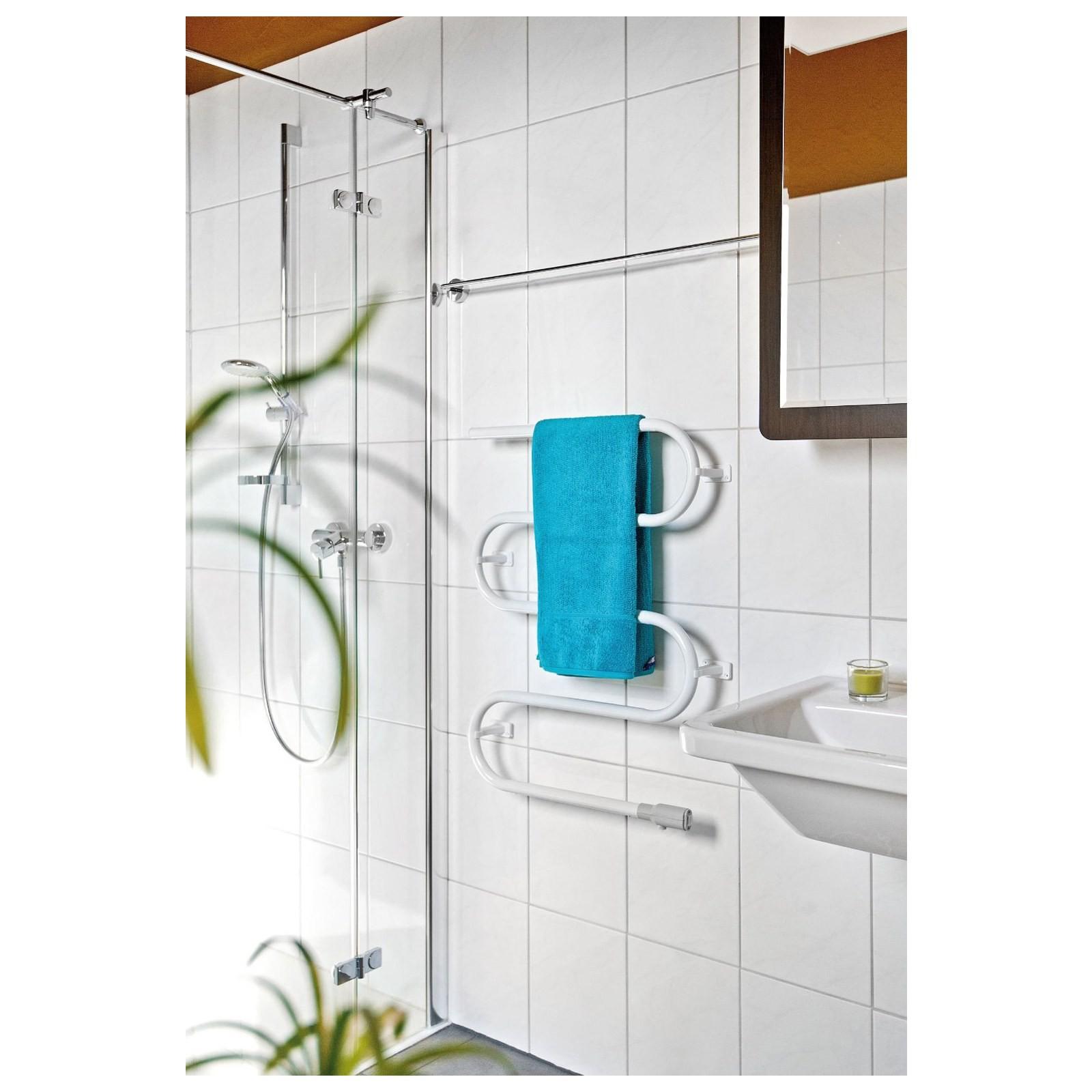 Termoarredo scaldasalviette radiatore elettrico portasciugamani da bagno bianco area illumina - Tovaglie da bagno ...