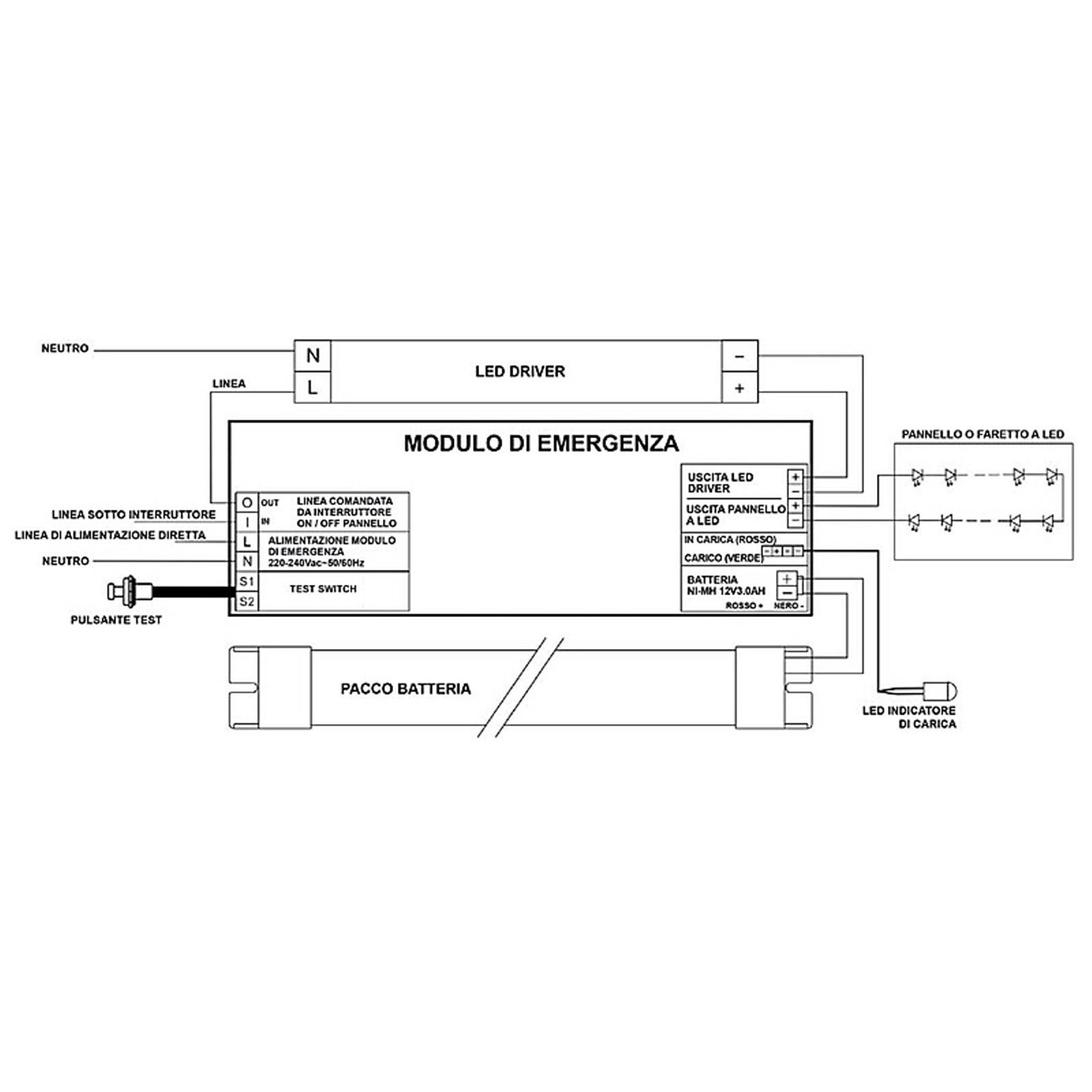 Schema Elettrico Lampada Di Emergenza Beghelli : Kit di conversione batteria luci emergenza per faretto