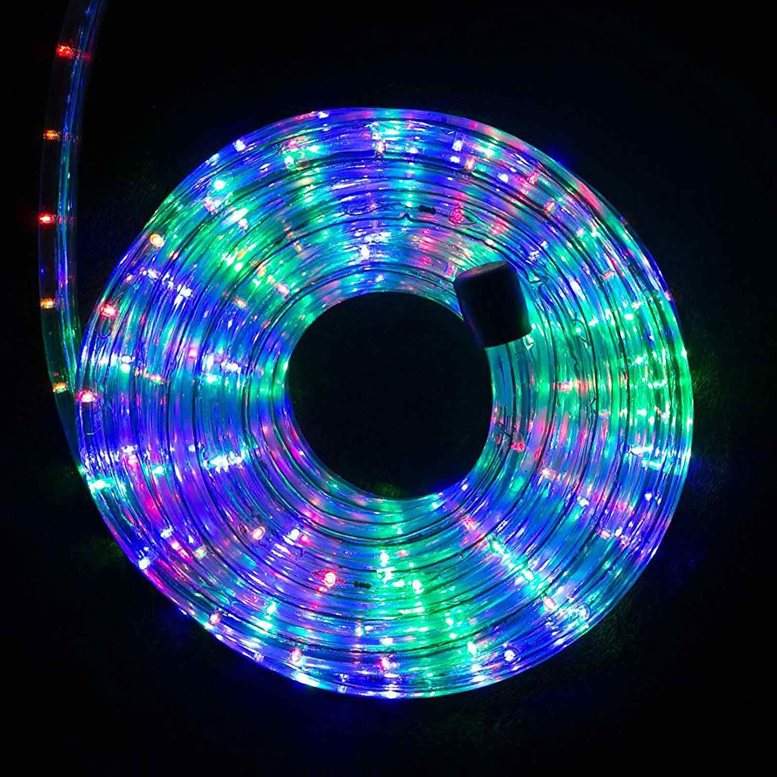 Tubo luminoso bianco luce multicolor rgb 30 metri luci a for Luci a tubo led